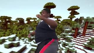 Fat black guy dancing with minecraft stock footage in the background.