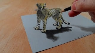 Drawing a 3D Cheetah, Amazing Animals, Illusionistic Art
