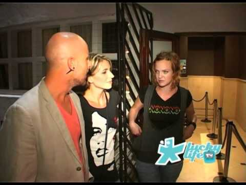 Mike Parry of Lucky Life TV interviews Natalie and Ingrid of NoNoNo at Origin Nightclub South Africa