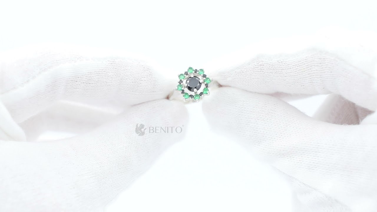 Valentina Ring Green and Black Zircon Stones