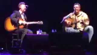 Vince Gill and Lyle Lovett talk a bit then sing Oklahoma Borderline in an acoustic set