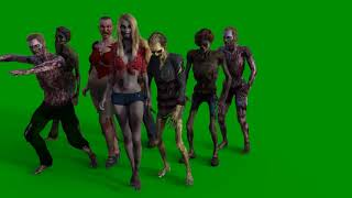 Greenscreen Footage   Zombie Group walking by