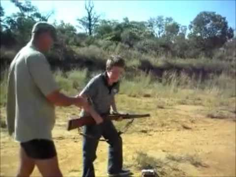 Funny rifle shooting on a South African farm
