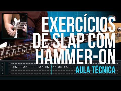 Exercícios de Slap com Hammer-On (aula técnica de contra-baixo)