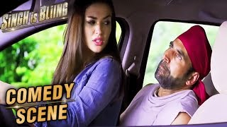 Amy Jackson Sits On Akshay Kumar's Lap In A Car | Comedy Scene | Singh Is Bliing | Lara Dutta | HD