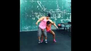 Strong woman lift man width=