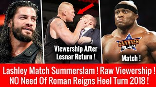RAW Viewership After Lesnar BLAST ! Roman Reigns Change Character ! Bobby Lashley Summerslam 2018