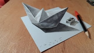Drawing a 3D Paper Ship, Optical Illusion by Vamos