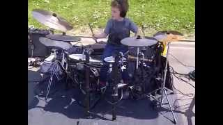 """Kid Drummer (age 5) plays Paradiddle Fills along to """"Isle of Dreams"""" (Spy Kids 2)"""