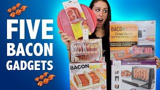 TESTING 5 BACON GADGETS - DO THEY WORK?? width=