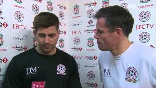 Steven Gerrard and Jamie Carragher talk ahead of kick-off at All-Star charity match at Anfield