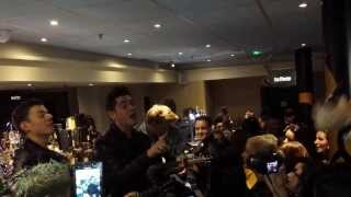 Karl Michael - on bar singing with the crowd + with Greg from District 3 - Bangkok Bar Manchester
