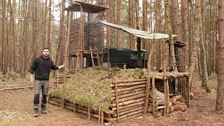 Bushcraft Camp - Solo Overnight in the Super Shelter, Axe, Campfire, Lean to Shelter