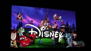 Disney Infinity intro title card featuring Jack Sparrow, Monsters University, Cars & More