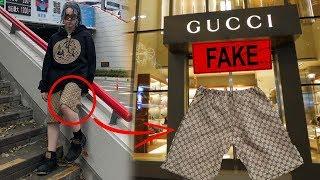 FAMOSOS usando GUCCI FAKE! BILLIE EILISH cuánto cuesta su outfit?