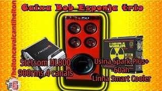 "Caixa Bob Esponja Trio - Pionner W311 12"", 2 kits 2 vias JBL, Usina 60ah Smart Cooler, Stetsom HL800"