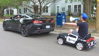 Pulling Cars Over Using A Toy Police Car width=