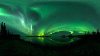 360 VR timelapse footage of the Aurora Borealis over Kashwitna Lake, Alaska