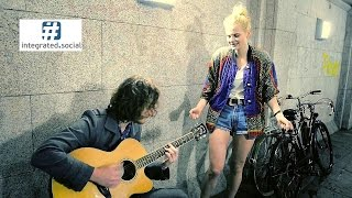 Fly Me to the Moon Street Cover Blond Woman singing with a Street Performer