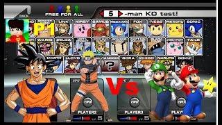 Goku e Naruto VS Mario e Luige - SSF2 (REGOTSBR)
