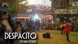 Cute girl performing on the street walking Hanoi with Despacito violin cover