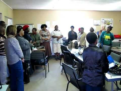 Sewing Group sings appreciation song.
