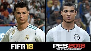 FIFA 18 VS PES 2018 | PLAYER FACES COMPARISON
