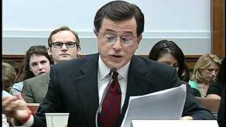 Colbert stays in character at congressional hearing width=