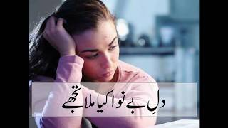 dil e be nawa kya mila tujhe | sad urdu poetry in female voice | sad poetry whatsapp status video