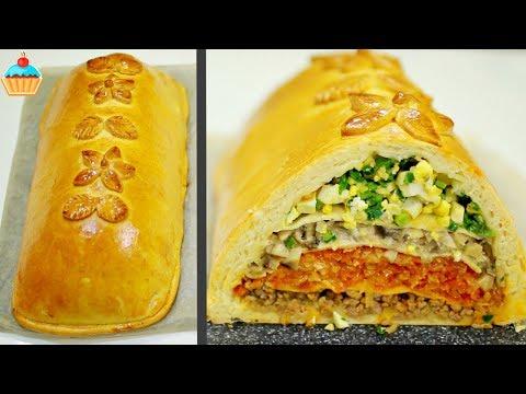 Пирог Кулебяка с мясом, капустой, грибами и яйцом — ну, оОчень вкусный!