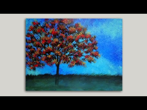 Maple Tree Acrylic Painting Demo | Easy Painting Techniques