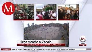 Marcha del 2 de octubre llega al Zócalo de la CDMX