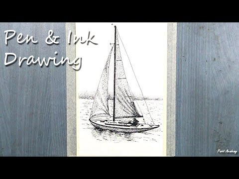 Pen & Ink Drawing | How to Draw A Boat using strokes and stippling method
