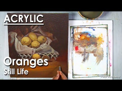 Acrylic Painting : Still Life | Oranges in a Drapery