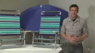 2 Atlantic Stripe Beach Chairs with 1 Blue Umbrella - Product Review Video