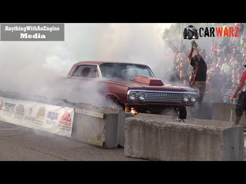 Old Car Burnout Ends In FIRE At Rod Benders Burnout Competition