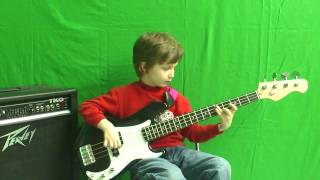"""Dustin Tomsen, 8 yr old covers """" KISS - Sure know something """" on bass"""