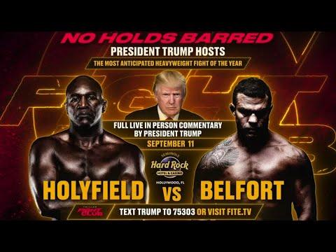 [LIVE FEED] EVANDER HOLYFIELD VS. VITOR BELFORT PRESS CONFERENCE Ft. PRESIDENT DONALD TRUMP