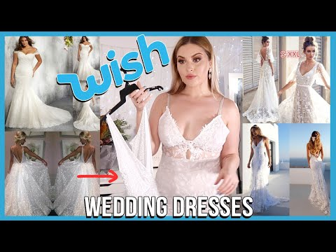 """Trying on WISH APP Wedding Dresses! ? DISASTER"""""""""""