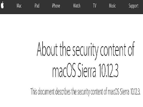 Apple macOS Sierra - 10.12.3 Security Update Released