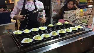 Flame Torched Cheese on Grilled Scallops & Oysters | Bangkok Street Food