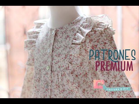 Patrones PREMIUM: Blusa estampada con doble volante para niñas (talla 9 meses a 8 años )