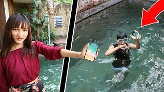 CRAZY GIRLFRIEND THROWS  FROST DIAMOND IPHONE X IN POOL PRANK GONE WRONG!