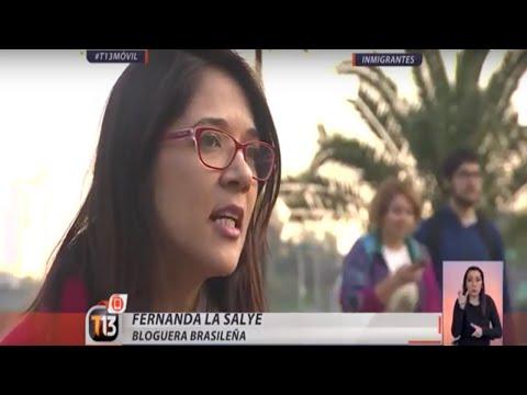 Eu na TV Chilena (Teletrece) falando sobre Brasileiros no Chile