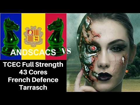 French Defence Chess Opening: TCEC :  AndScacs on 43 cores vs Leela Chess with 2 Graphics Cards