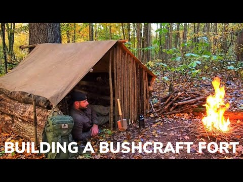 Solo Overnight Building a Fort in The Woods Part 2 and Wild Boars Bacon Stew