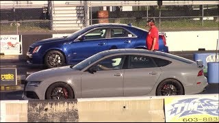 2013 Cadillac CTS-V vs 2015 Audi RS7 1/4 Mile Drag Races