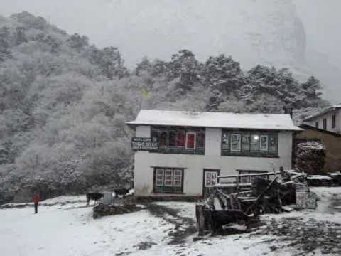 Tengboche guest lodge in the snow