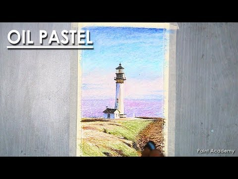 Oil Pastel Scenery Drawing : The Lighthouse