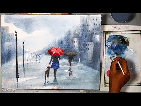 How to Paint A Rainy Day Scene in Acrylic | Acrylic on Canvas step by step